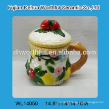 Ceramic water cup with elegant flower painting for wholesale