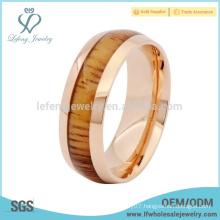 Wood inlay mens titanium rose gold ring,titanium mens ring wholesale