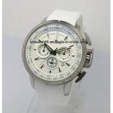 Reloj de lujo de la cara grande de los relojes del cronógrafo de la cara Reloj del deporte de los hombres de la banda de goma