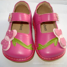 Lovely Hot Pink Big Butterfly Toddler Squeaky Shoes