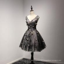 V Neck Flower Black Beading Prom Cocktail Dress
