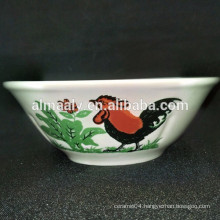 porcelain soup bowl with a chicken