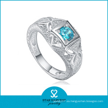 Nuevo anillo de plata 925 de color raro con piedra azul