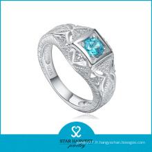 Nouveau anneau argenté de couleur rare 925 avec pierre bleue