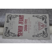 Etiqueta de impressão de seda de algodão para vestuário