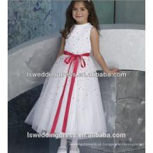HF2182 Últimas lantejoulas cetim branco com lantejoulas de saia de calça a linha de chá comprimento preço de fábrica barato vestido de menina flor vermelha