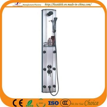 Panneau de douche en aluminium noir avec jets réglables (YP-008)