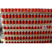 Frasco de vidro doce tiras de pimenta vermelha