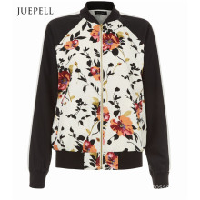 White Floral Print Contrast Sleeve Sport Women Bomber Jacket