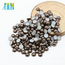 Hohe Qualität halbe Runde lose flache Rückseite Harz Perle für Schmuckherstellung, Z36-Dark Coffee