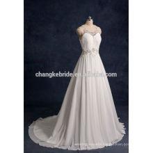 2016 white Beading Sleeveless Long Chiffon wedding dress for bridal