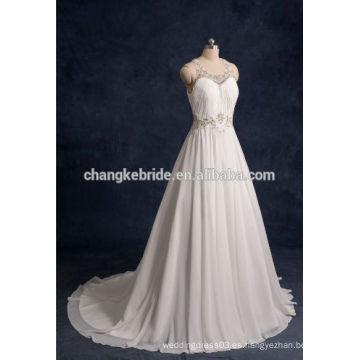 2016 blanco que rebordea el vestido de boda largo sin mangas de la gasa para nupcial
