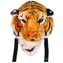 Design patenteado encantador 3D material de pelúcia tigre em forma de mochila mochila animal de pelúcia atacado