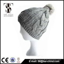 Winter aceylic knitted pom pom beanie