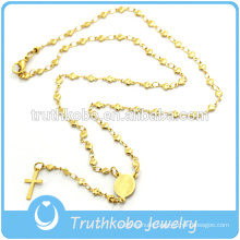 Vacuum plating rosary star chains religious necklace with laser cut etched tribal pattern Virgin mary cross pendant jewelry