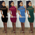New fashion pure color slim-line hollow out sexy club dress back zipper above knee dress women sexy