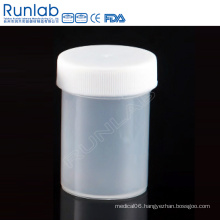 CE Marked PP 60ml Universal Specimen Containers with Screw Cap and No Label