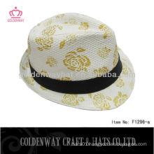 high printing fedora hats men paper straw fedora hat discount hats