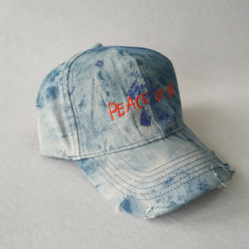 Printing Embroidery Cap Distressed Baseball Cap Denim Hat