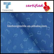 poids léger fond bleu lunettes design imprimé sur Popeline tissent le tissu de coton pour chemise