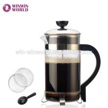 Pot de café en verre de borosilicate de Pyrex avec le plongeur