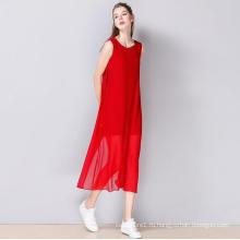 Лето без рукавов с круглым вырезом платье Женская мода