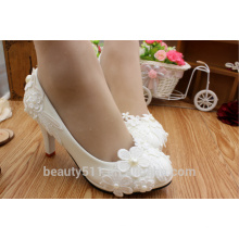 Blanco flor brote de seda impermeable plataforma talón agua diamante zapatos de boda zapatos de vestir de novia para los zapatos de las mujeres WS016