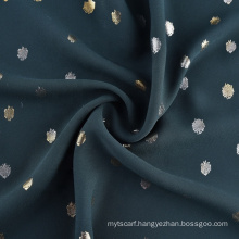 New Fashion 100% Polyester Gold Foil Printing Woven Moss Crepe Fabric for Garments