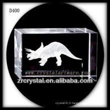 K9 Rectangle de cristal laser 3D avec dinosaure à l'intérieur