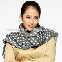 Senhora impresso polka dot 100% lã cachecol xale SWW297-G
