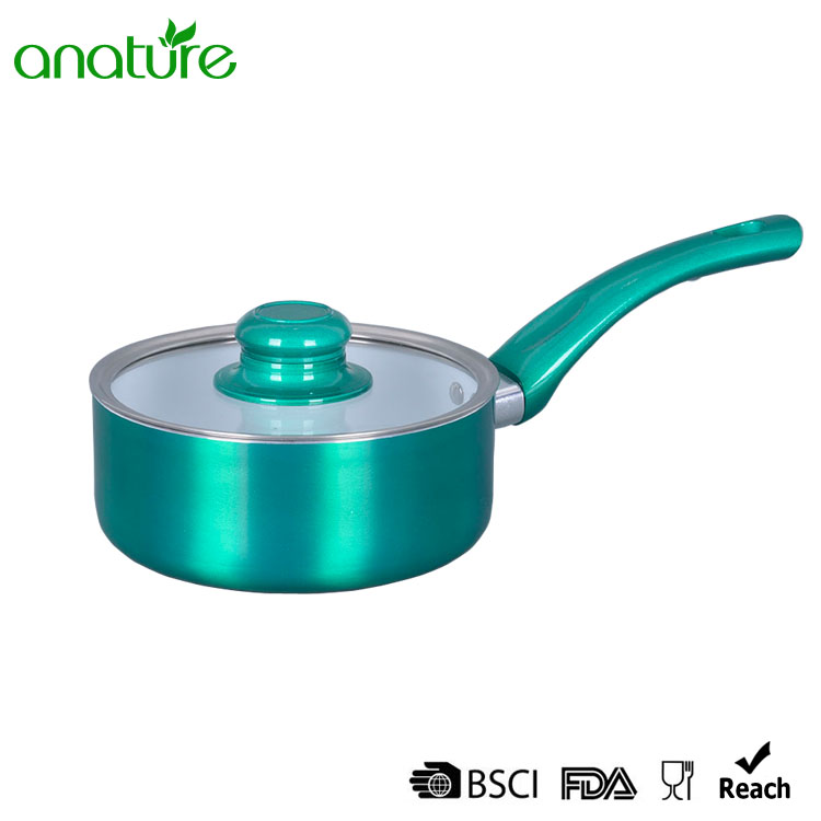 Green Pressed Creamic Customized 7Pcs Cookware Set