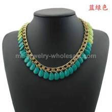 Gold Plated Chain Link Different Color Acrylic Beads Necklace For Women