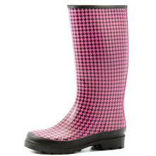 Basic Europen Pink And Black Women Rubber Boots