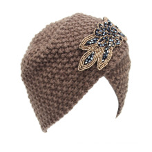 Women Knitted Rhinestone Flower Hat Cross Crochet Turban Bonnet Winter India Cap Warm Hat (HW128)