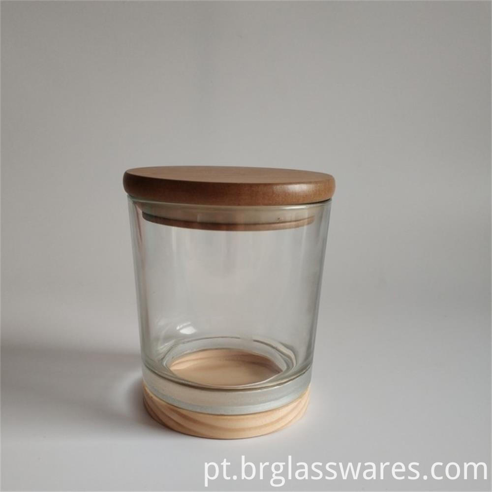 wooden top and wooden bottom glass candle jar3