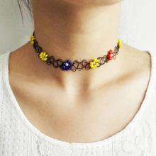 Fashion Beaded Flower Shape Vintage Stretch Tattoo Necklace