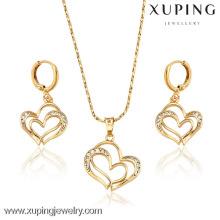 62814 Xuping Fashional elegante corazón 18K chapado en oro de joyería conjuntos