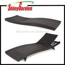 Muebles de patio al aire libre PE mimbre ajustable 5 o 7 engranajes de ratán Piscina Chaise Lounge Chair