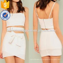 Abrigo con hebillas Crop Top con falda de solapamiento de cintura de cintura Fabricación al por mayor de prendas de vestir de mujeres (TA4115SS)