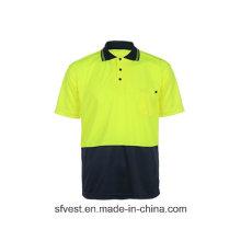 Farbkombination Kragen Design Polo Shirts Neueste Design Sicherheit Reflektierende Polo Shirt mit Polyester Birdeye Stoff