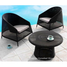 Outdoor 3 Pieces Black Wicker Coffee Table Set (OT15)