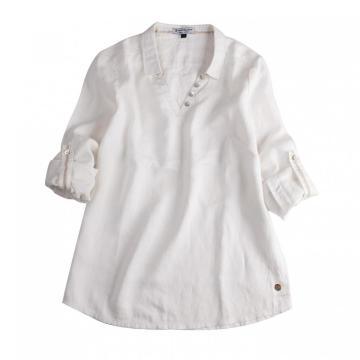 Camisas longas casuais brancas de manga comprida feminina