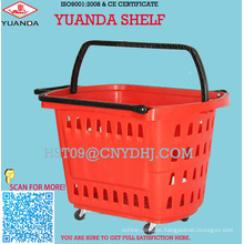 2016 Design Comerical Plastic Wheel Shopping Basket with Four Wheels