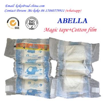 Abella Magic Tape Cloth Как Backflim Высокое качество абсорбирования Одноразовые пеленки для новорожденных