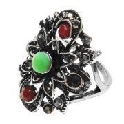 Fashion vintage metal multi color resin rose flower ring finger rings for women