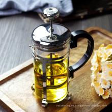 Caldera de té de vidrio resistente al calor, émbolo de acero inoxidable