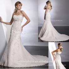 WD0037 милая декольте без бретелек жемчуг и кристаллами украшают лиф раструб платье элегантный свадебное платье
