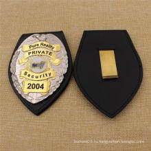 Высокое качество пользовательских США кожа безопасности знак полиции с держателем