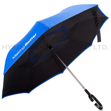 Double Layered Reverse Manual Open Straight Umbrella
