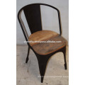 Vintage Industrial metal Chair Recycled Scrap Wooden Seat Rustic Color